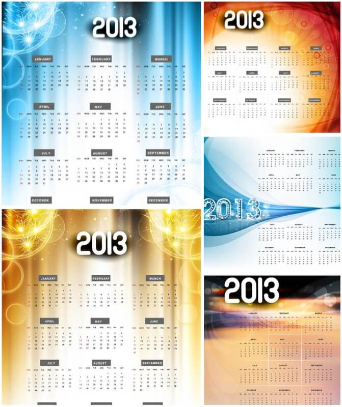 Calendars templates with abstract background for 2013 vector