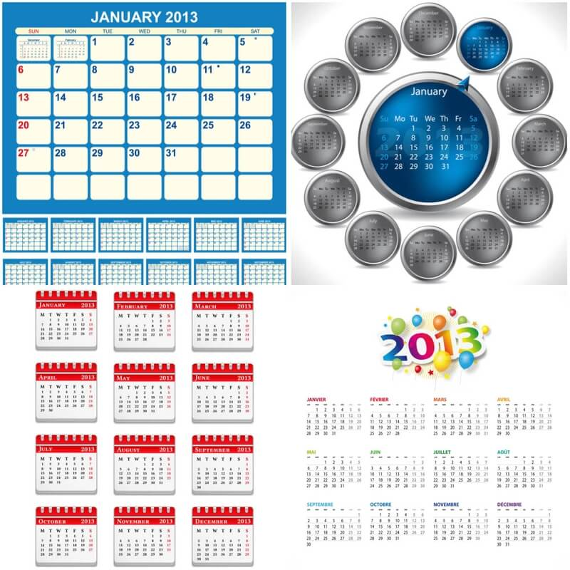 Calendars templates with place for notes for 2013 vector