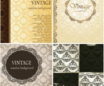 Elegant vintage wedding album cover with abstract ornament background vector