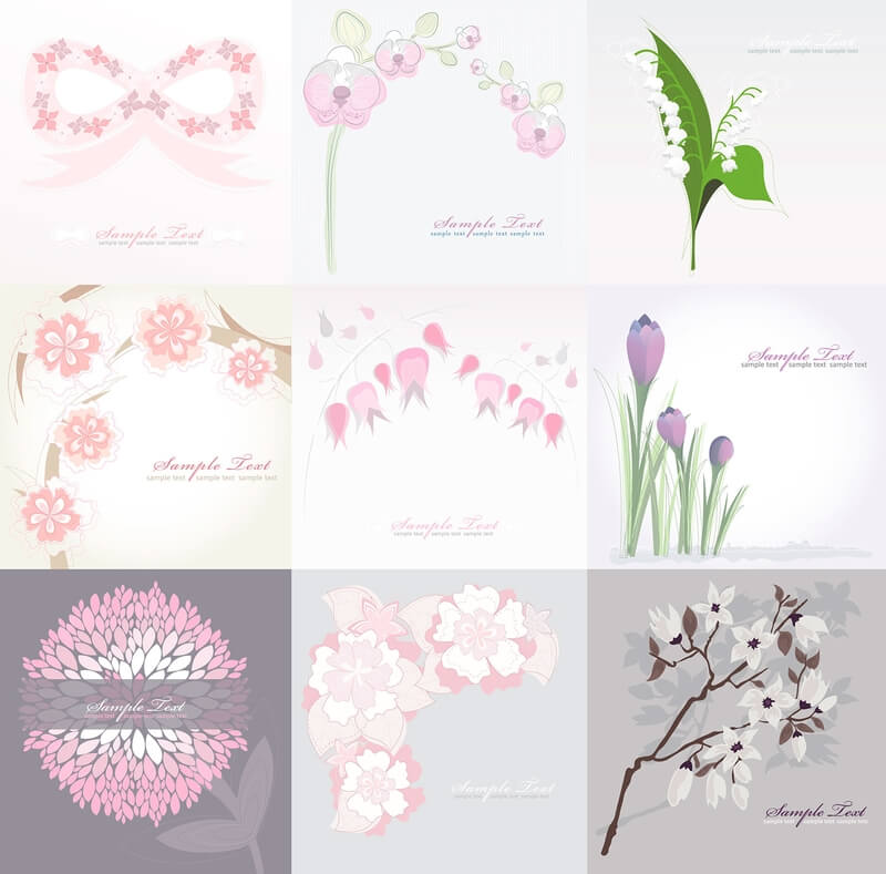 Floral greeting cards with white background vector