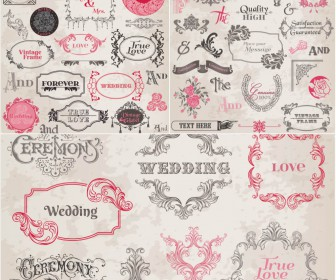 Vintage Wedding frames with floral ornaments vector