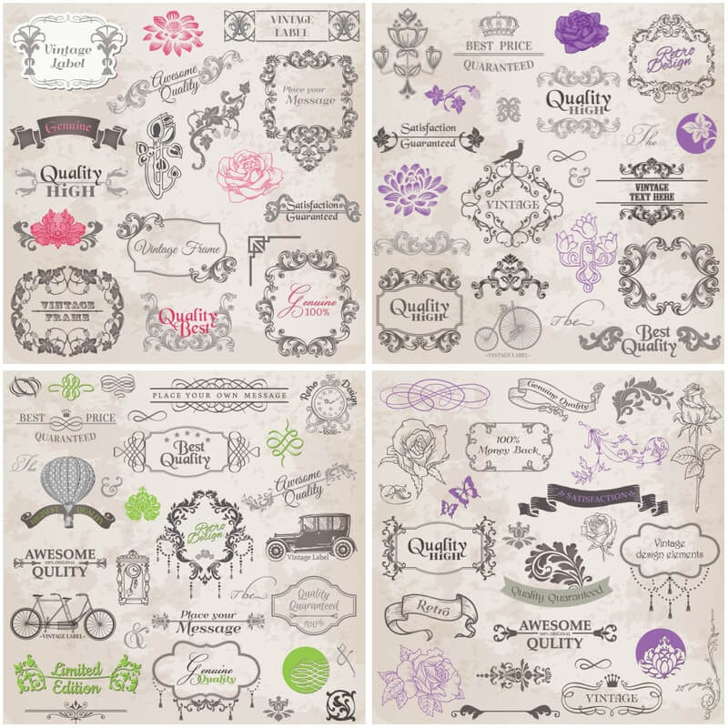 Vintage labels with floral ornaments vector