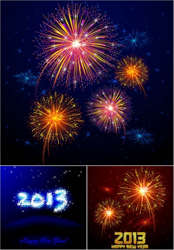 Backgrounds with fireworks 2013 vector