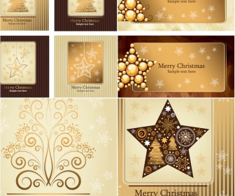 Gold Christmas cards vector