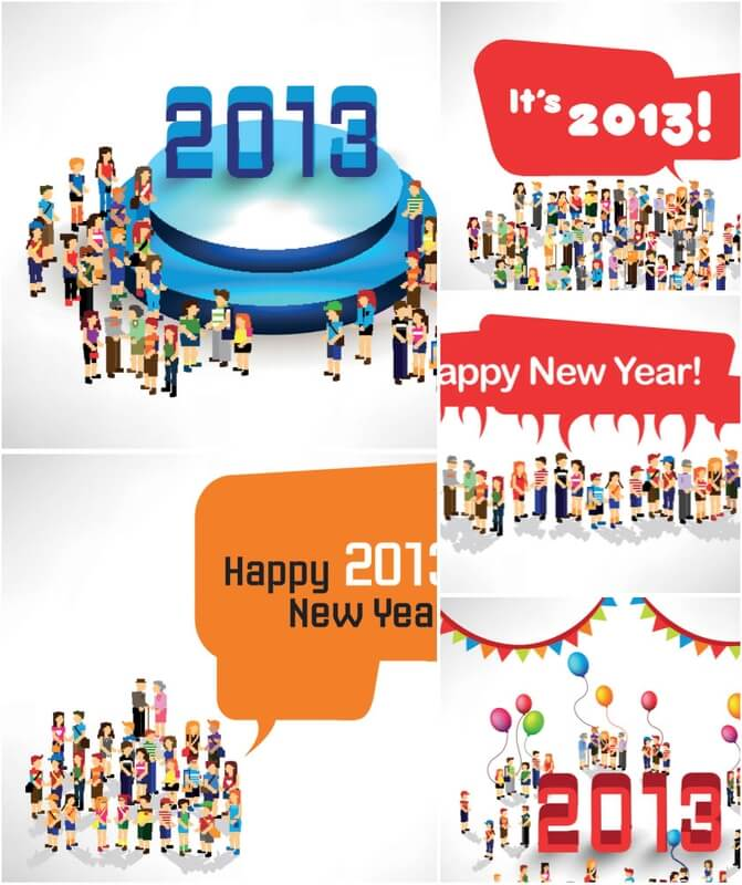 Happy New Year people party vector