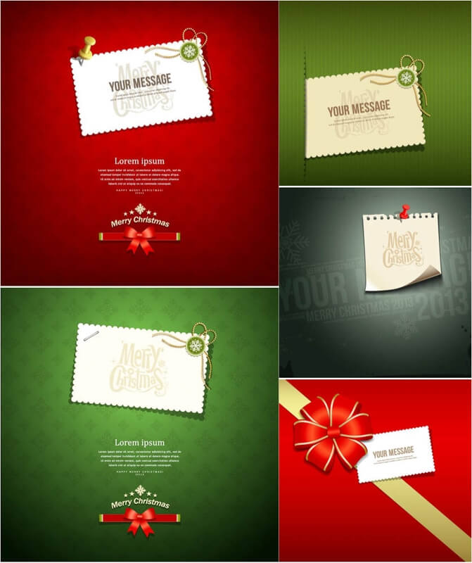 Modern Christmas greeting cards vector