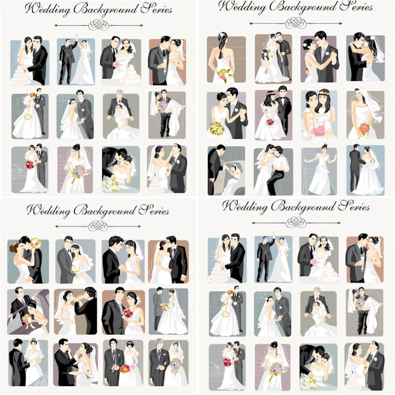 Wedding backgrounds vector with bride and groom