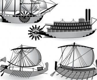Ancient ship (Galera templates) vector