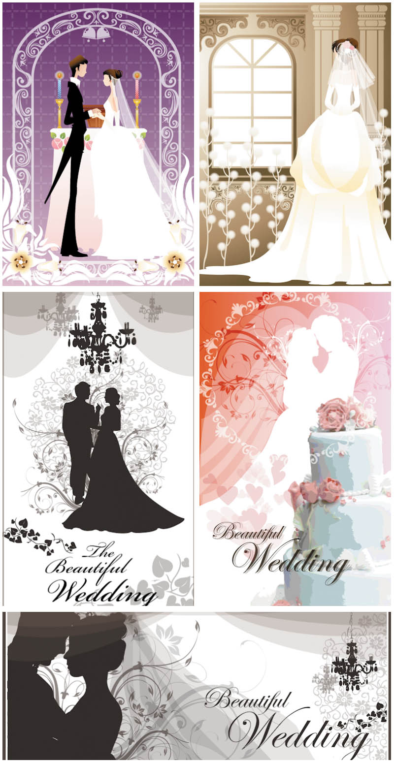 Beautiful Wedding cards vector