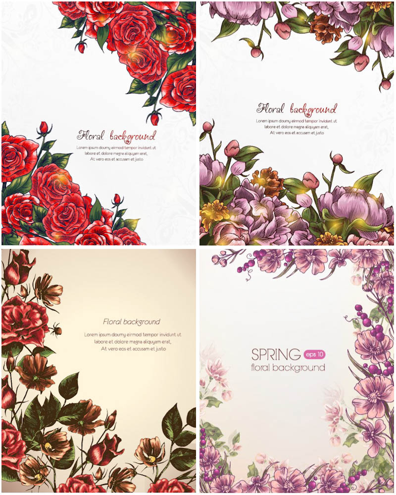Beautiful backgrounds with flowers vector