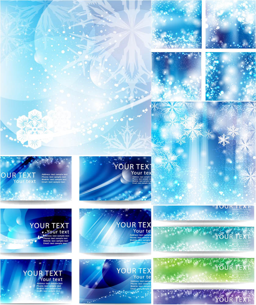 Blue backgrounds, banners and busines cards vector