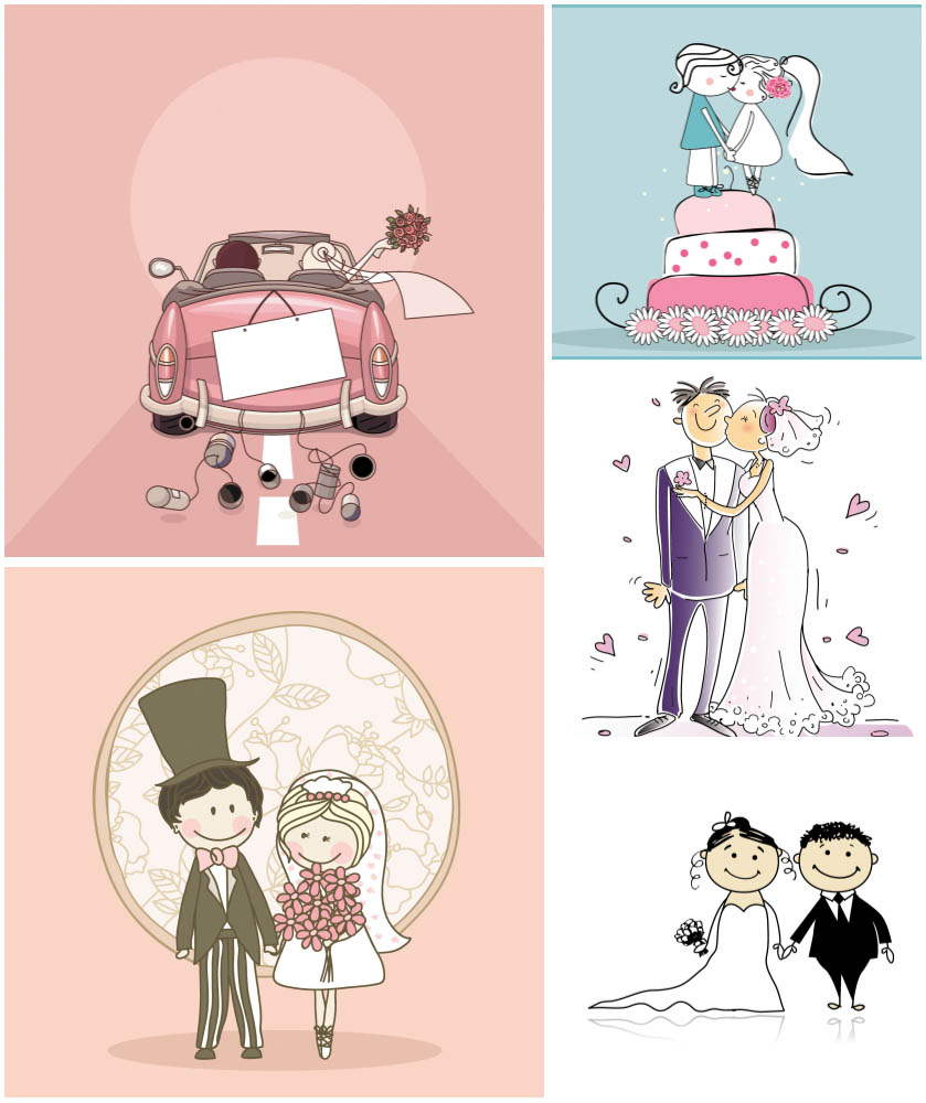 Cartoon Wedding Card And Background Vector Graphics