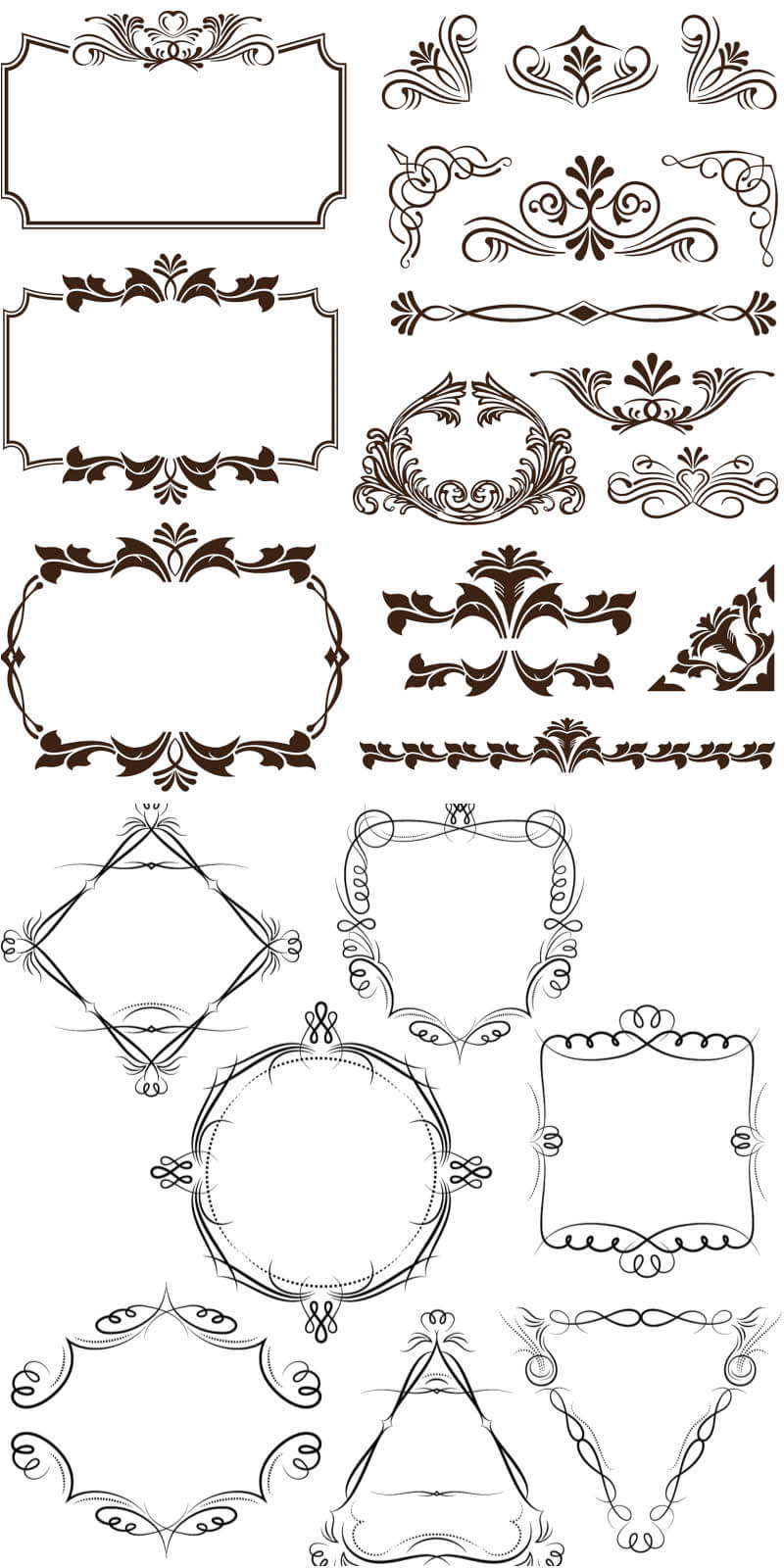 Decorative frames and corners vector | vector free
