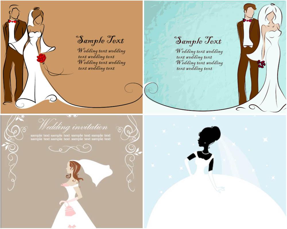 Pics photos cartoon wedding card templates vector free stock art