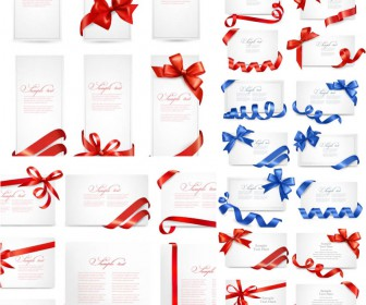 Gift cards with bows and ribbons vector