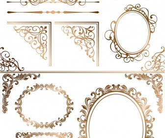 Gold ornamental elements and frames vector 2020