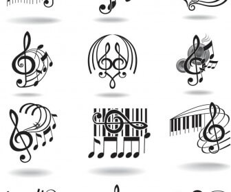 Notes, music staff and treble clef vector 2018