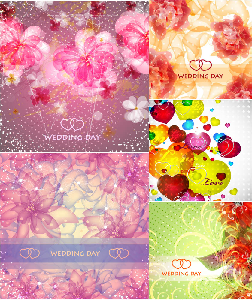 Romantic cards and backgrounds with beautiful flowers vector