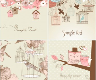 Romantic cards with birds vector