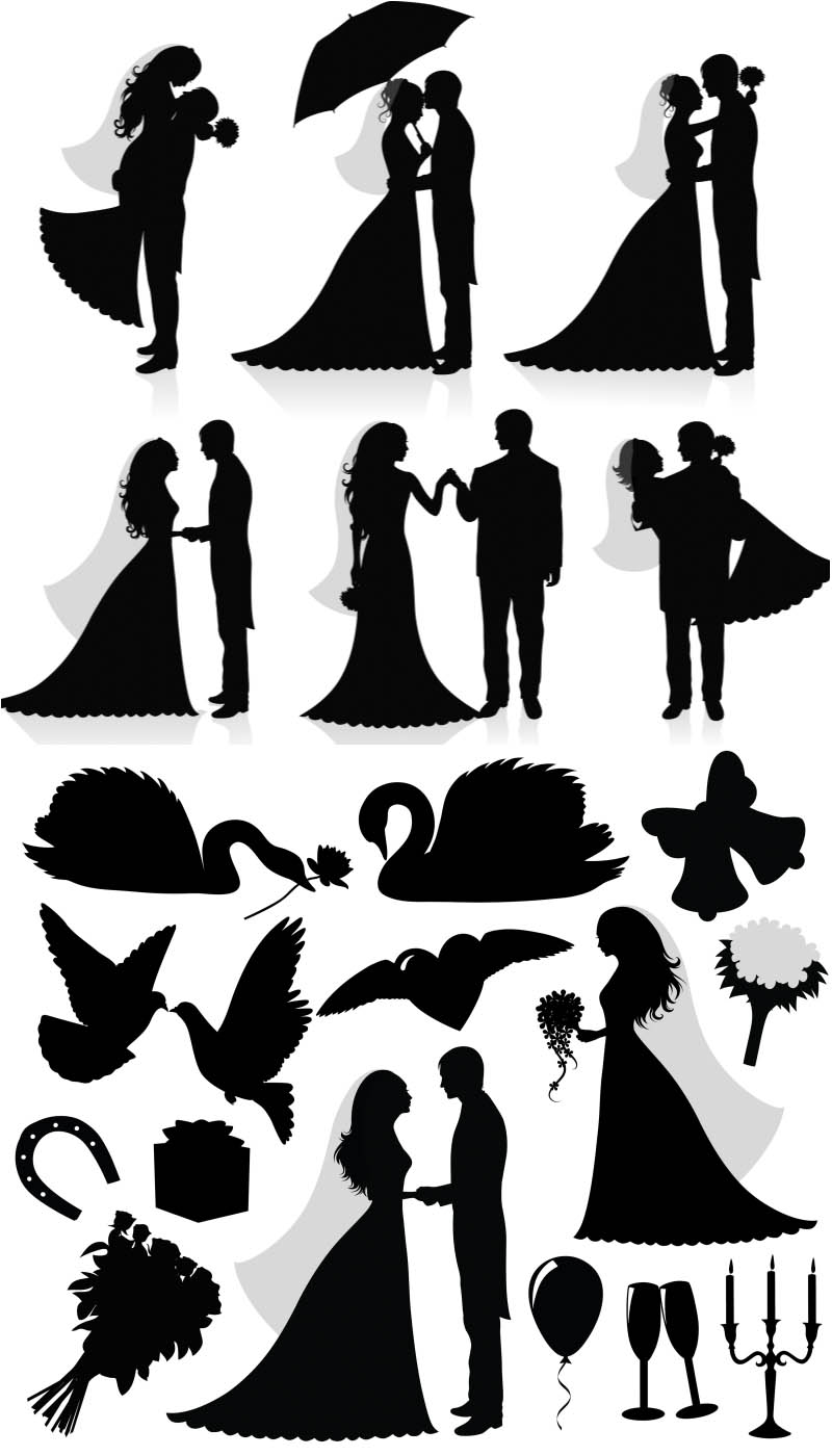 Silhouette newlyweds vector