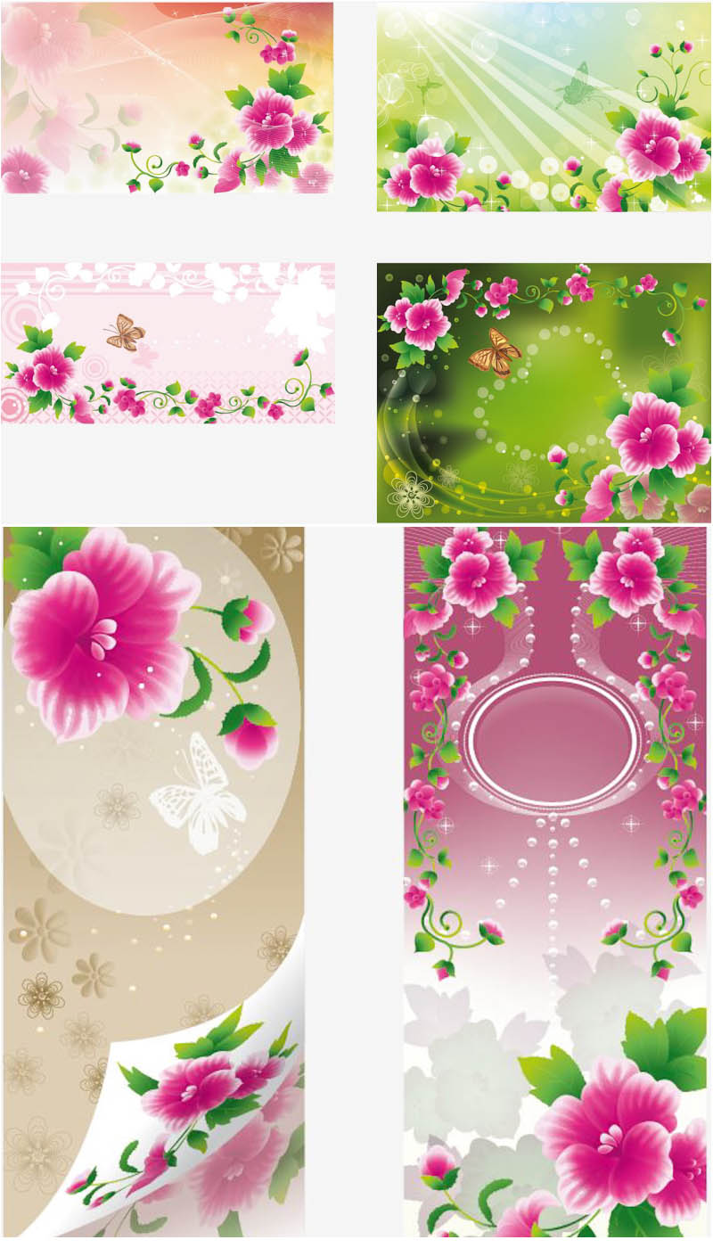 Spring backgrounds and banners with pink flowers vector
