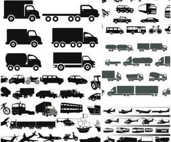Silhouettes cars and transport for cargo transportations
