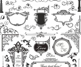 Vintage ornamental elements vector