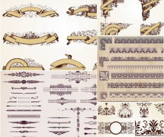 Vintage ornaments borders vector
