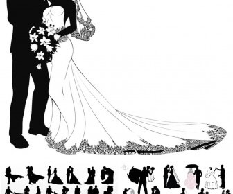 Wedding couple silhouettes vector 2018