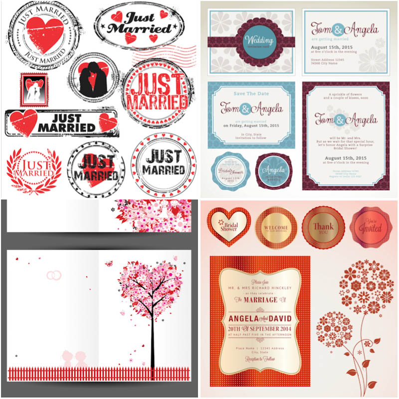 Wedding invitation cards and elements in shape of stamp vector