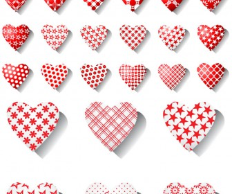 Big collection bright decorative hearts vector