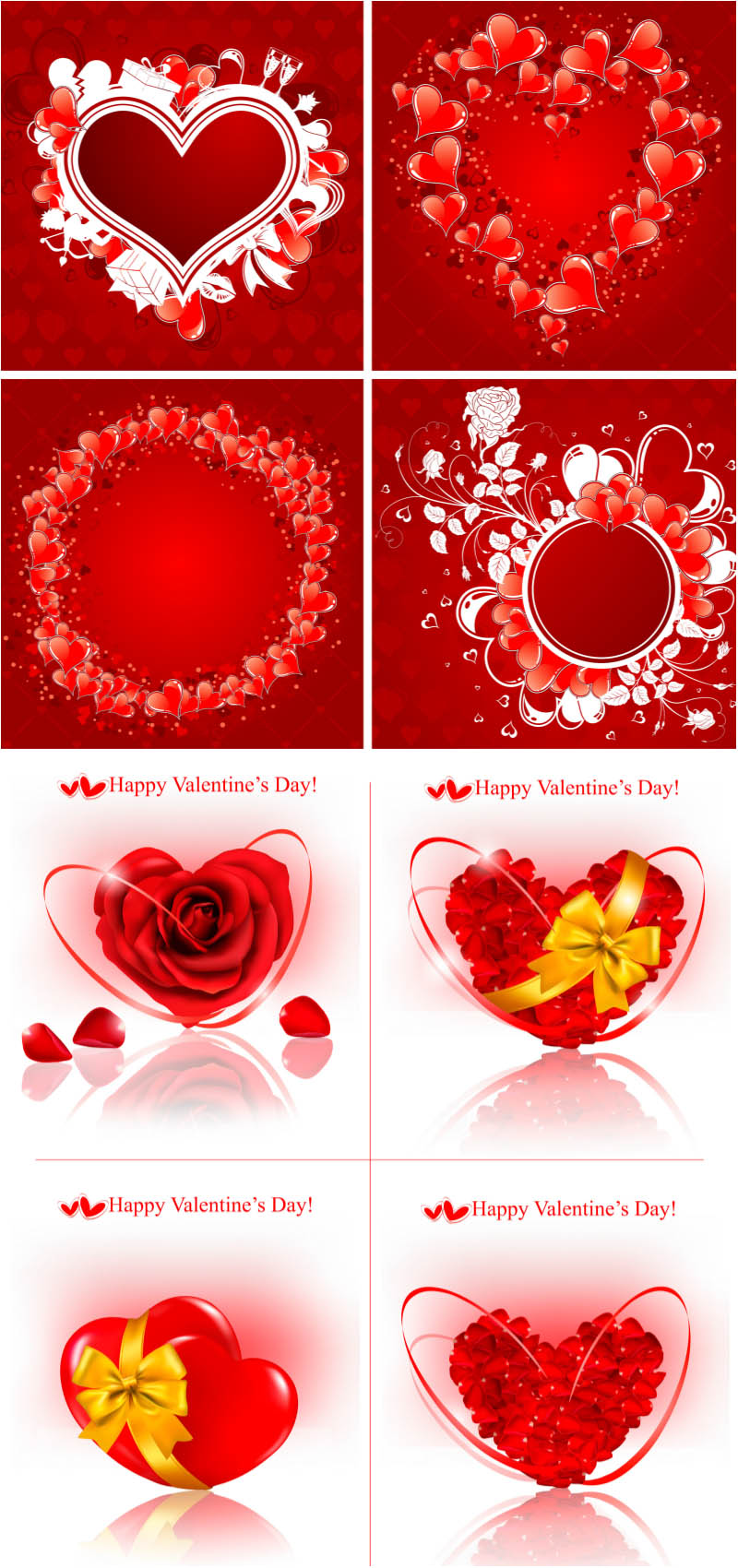 Red heart on red and white backgrounds vector