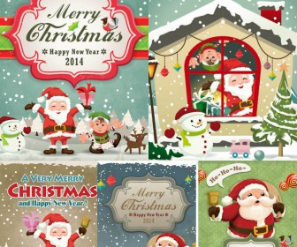 2014 Cartoon santa cards vector