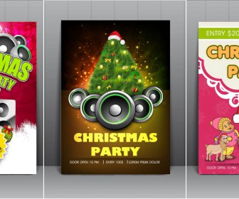2014 Christmas dance party flyer vector