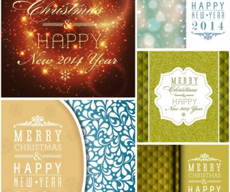 2014 Happy New Year and Merry Christmas cards and backgrounds vector