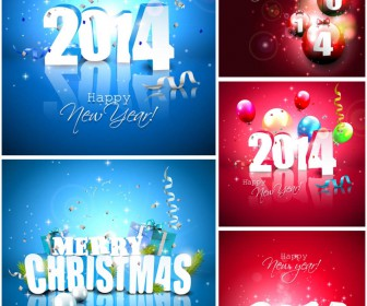 2014 Happy New Year and Merry Christmas holiday vector