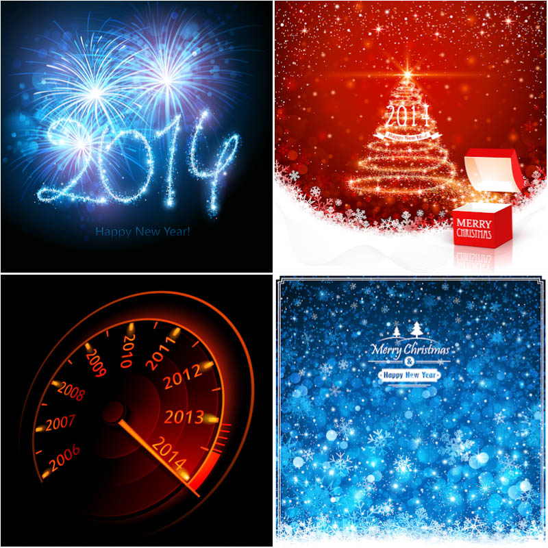 2014 New Year cards vector