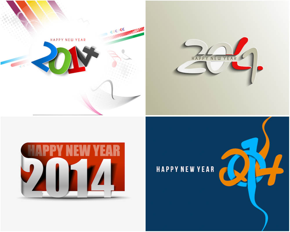 2014 New Year inscription vector