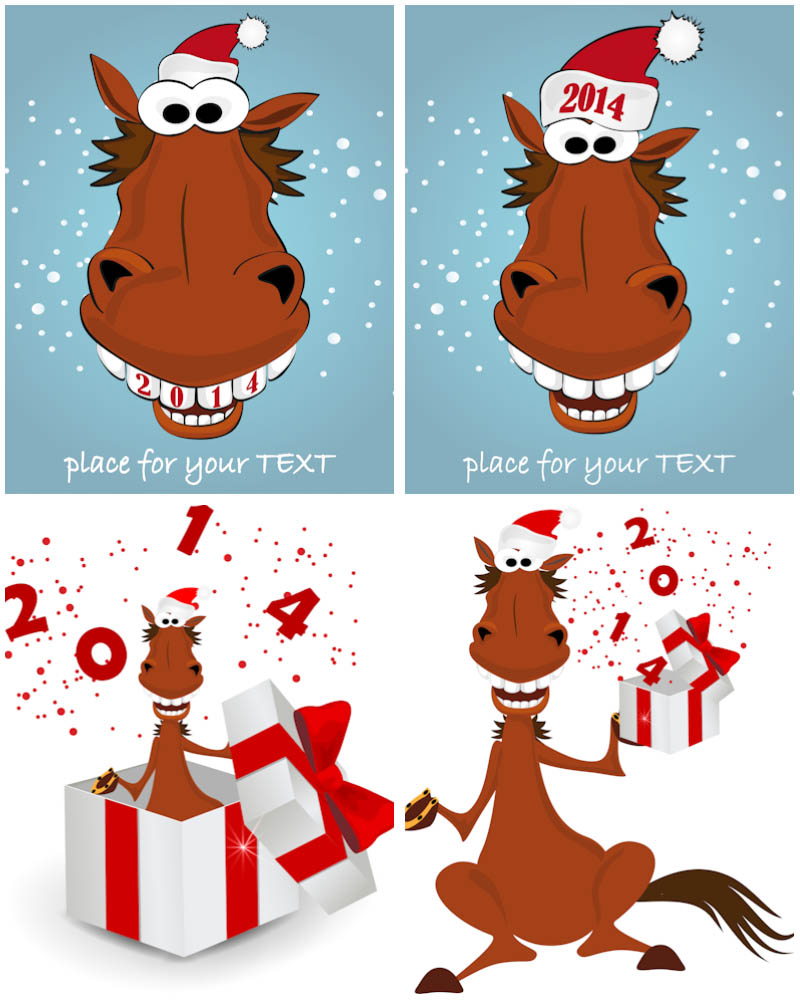 2014 New Year with horse vector