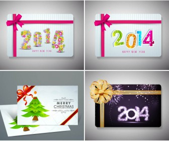 2014 Nice Christmas and New Year cards vector