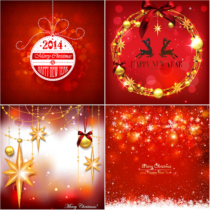 Beautiful 2014 New Year cards on red backgrounds vector