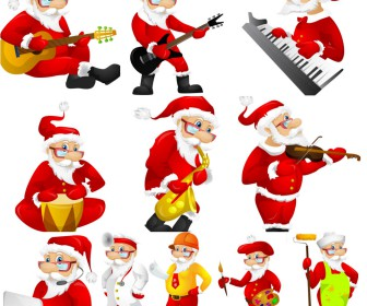 Big collection Santa with musical instruments vector