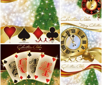 Christmas poker backgrounds vector