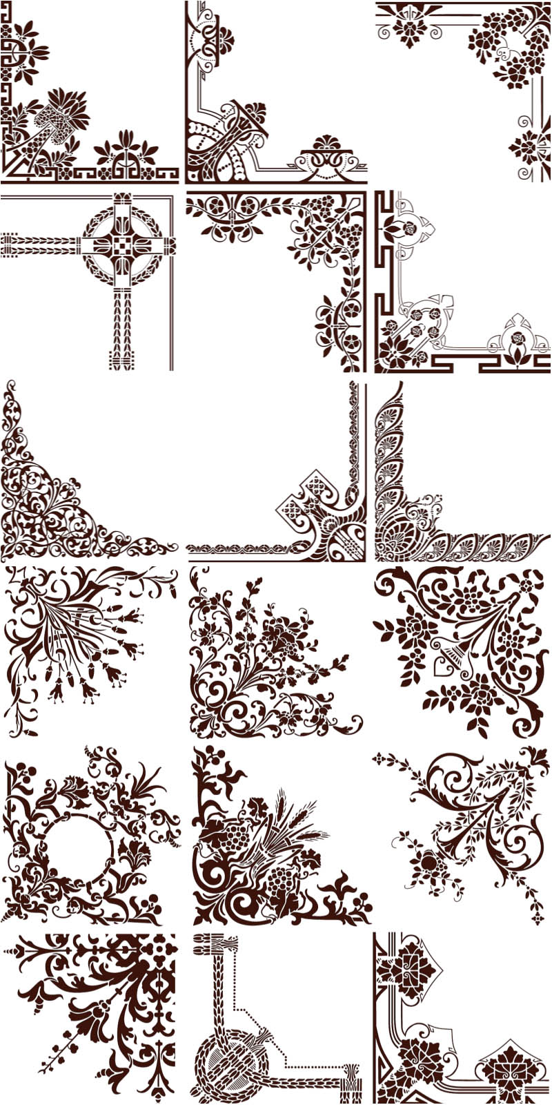 Collection ornamental vintage corners vector