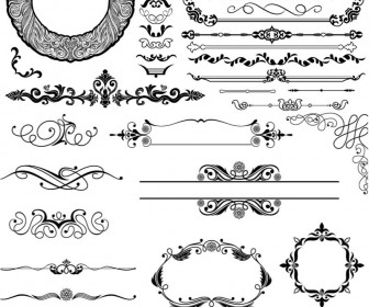 Ornamental elements and frames vector