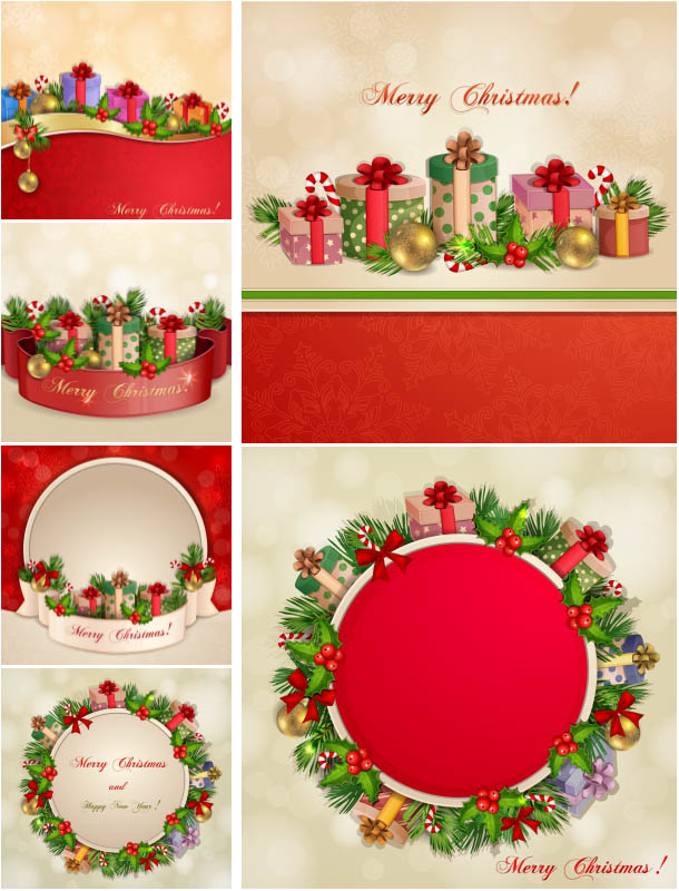 Xmas backgrounds with gifts and garlands vector