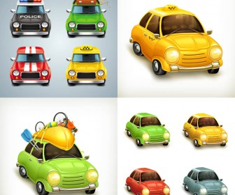 Cartoon cute cars vector