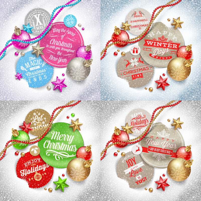 Christmas and New Year composition vector
