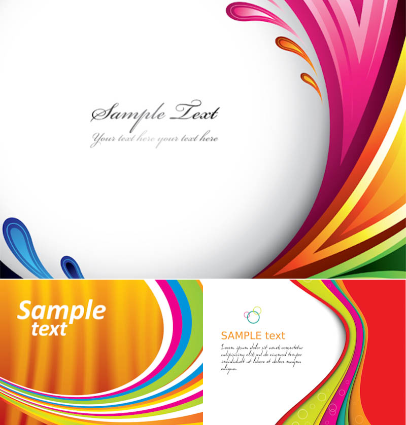Colored curly lines background with place for text vector