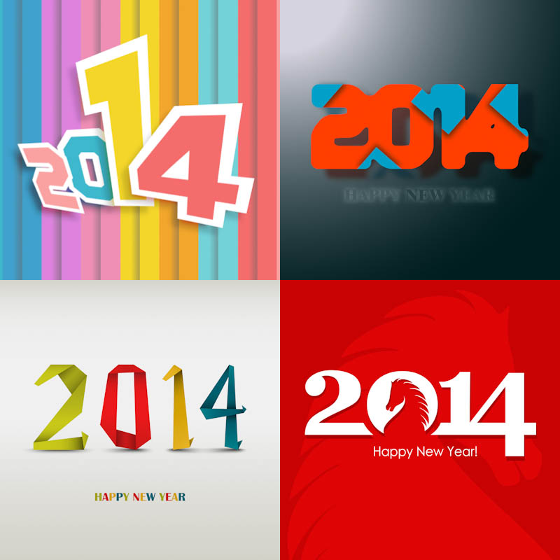 New Year backgrounds, Inscription 2014 vector